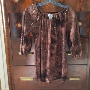 Brown sequined and ribbon embellished tunic top